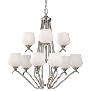 Merritt 9-light Tiered Brushed Steel Chandelier