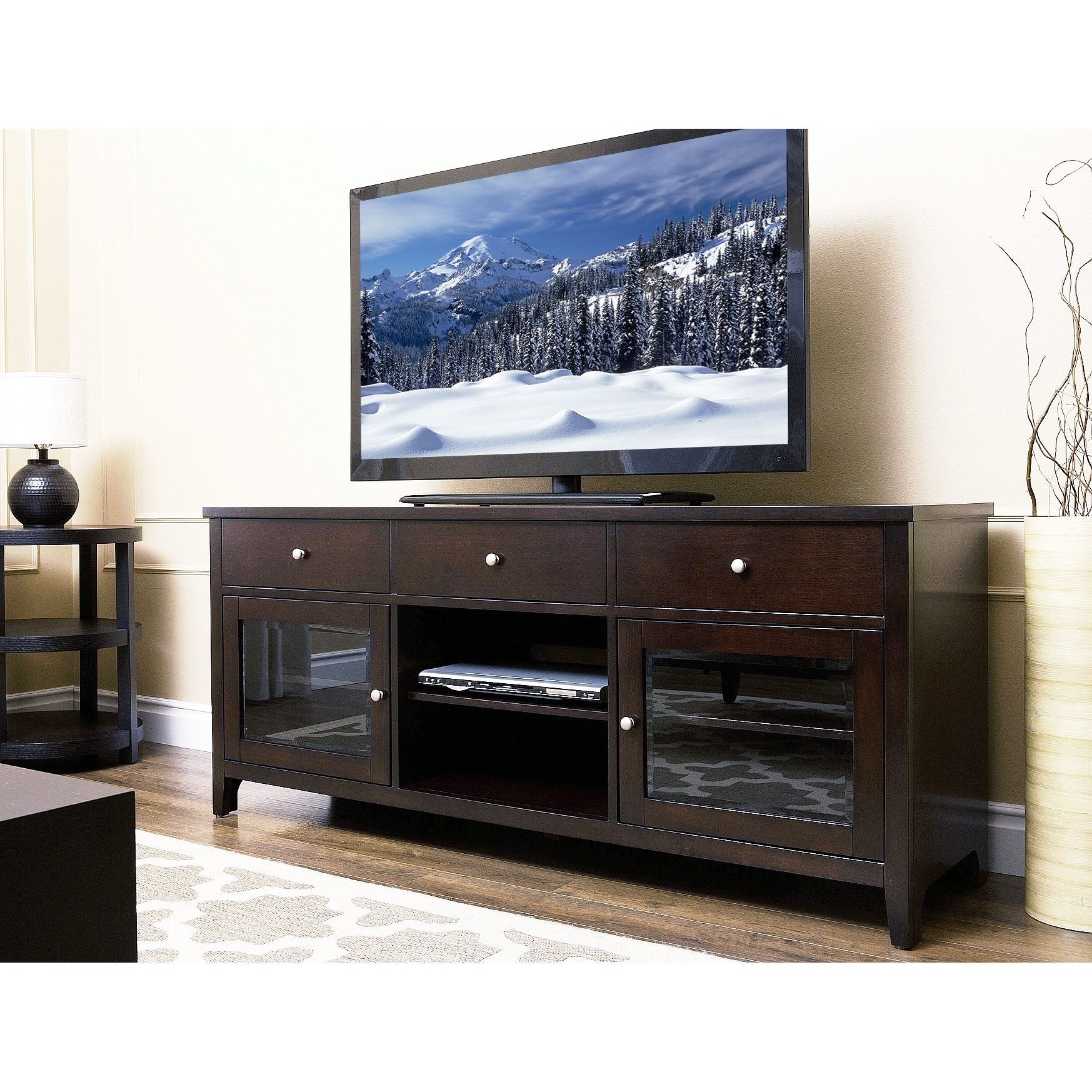 Abbyson Living Carmen 64-inch Espresso Solid Oak Wood TV Console at Sears.com