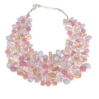 Pink and Lavender Wire Woven Necklace (India)
