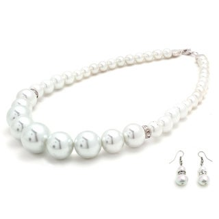Bleek2Sheek Gradual Glass Pearl Necklace and Earring Jewelry Set
