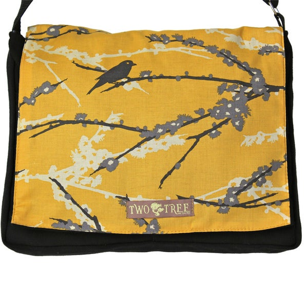Handmade Medium Yellow Bird On A Branch Messenger Bag