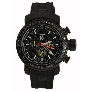 Techno Com KC Men's Black Diamond Carbon Fiber Dial Watch