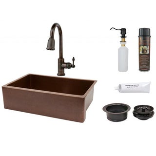 Premier Copper Products Pull-Down Brass Faucet Package
