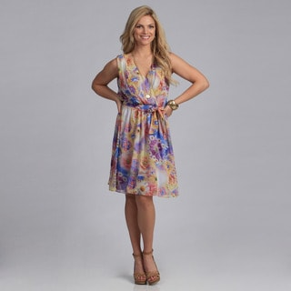 Gabby Skye Women's 'Georgette' Floral Sleeveless Dress