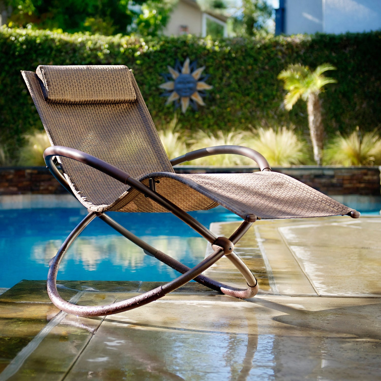 Superb img of RST Brands Orbital Zero Gravity Patio Lounger Rocking Chair  with #156E94 color and 1500x1500 pixels