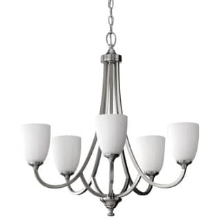 Perry Brushed Steel 5-light Tiered Chandelier