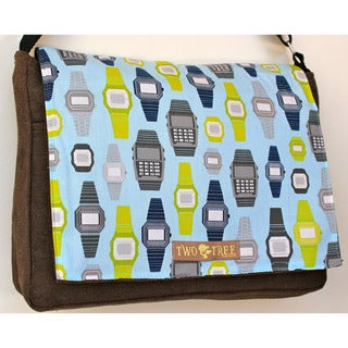 Handmade Medium Grey Retro Watch Messenger Bag