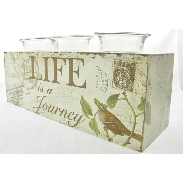 'Life Is A Journey' Tea Light Candle Holder