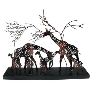 Cut Copper Giraffe Family Scene (Indonesia)