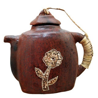 Decorative Square Kotak Terracotta Teapot (Indonesia)