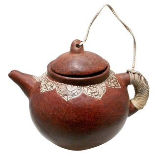 Decorative 6-inch Round Terracotta Teapot (Indonesia)