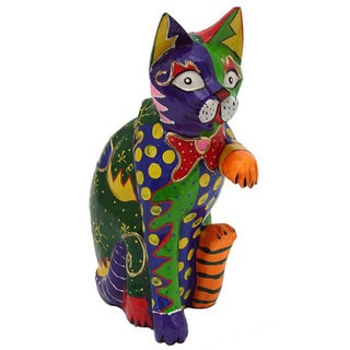Multicolored Clay Handshake Cat Statue, Handmade in Indonesia