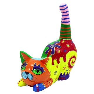 Multicolored Pouncing Cat Statue, Handmade in Indonesia