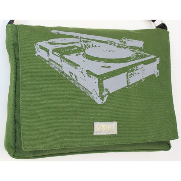 Handmade Medium Green Turntable Messenger Bag