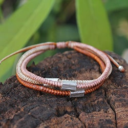 Silver Accent Polyester 'Hill Tribe Sophisticate' Bracelet (Thailand)