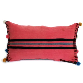 Berber Striped Fuchsia Vintage Kilim Pillow (Tunisia)