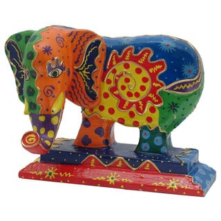 Hand-Carved Multi-Colored Wooden Elephant Statue (Indonesia)