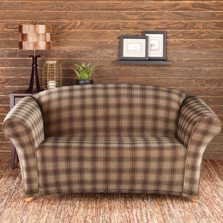 Sure Fit Stretch Belmont Sable Plaid Loveseat Slipcover