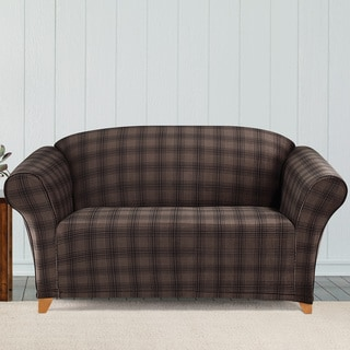 Sure Fit Stretch Belmont Chocolate Plaid Loveseat Slipcover