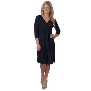 Jessica Howard Women's Belted V-neck 3/4-sleeve Dress