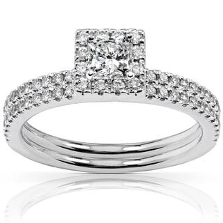Annello Platinum 3/4ct TDW Diamond Bridal Ring Set (G-H, VS1-VS2)