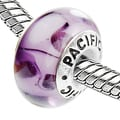 Sterling Silver Murano-style 'Plumberry' Glass Bead