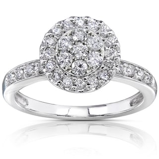 Annello 14k White Gold 1/2ct TDW Diamond Cluster Engagement Ring (H-I, I1-I2)