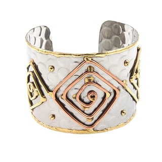 Handcrafted Mixed Metals Square Maze Cuff Bracelet (India)