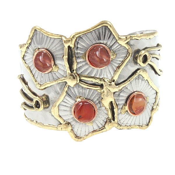 Handcrafted Mixed Metals Semi-precious Stones Cuff Bracelet (India)