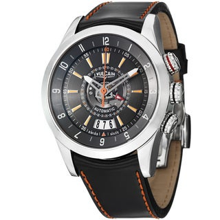 Vulcain Men's 210130.197CF 'Revlution GMT' Black Dial Leather Strap Quartz Watch