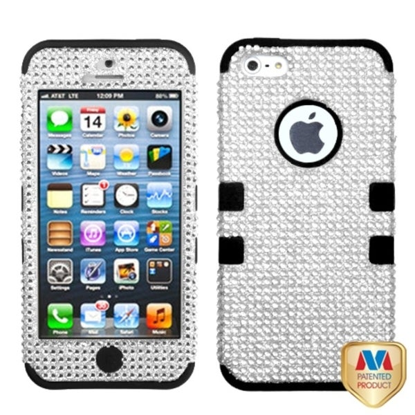 BasAcc Silver/ Black Bling Hybrid Case for Apple iPhone 5