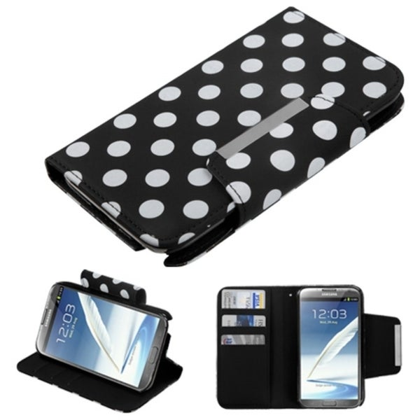 BasAcc Black Polka Dot Wallet Case for Samsung Galaxy Note 2 N7100