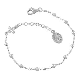 Fremada Sterling Silver Adjustable Saturn Rosary Bracelet (8.5-inch)