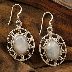 Sterling Silver Moonstone Earrings 'Rays Of Moonlight' (India)