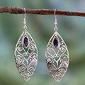 Sterling Silver 'Floral Shield' Iolite Earrings (India)