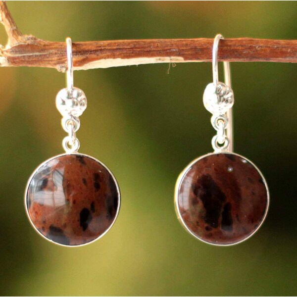 Handmade Sterling Silver 'Inca Moons' Mahogany Obsidian Earrings (Peru) 11046716