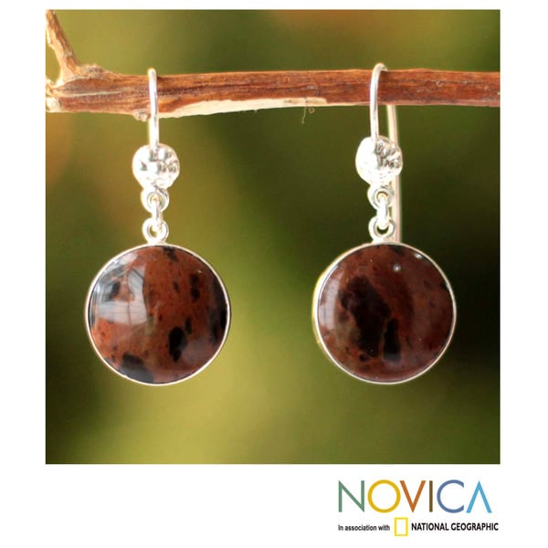 Sterling Silver 'Inca Moons' Mahogany Obsidian Earrings (Peru) 11046716