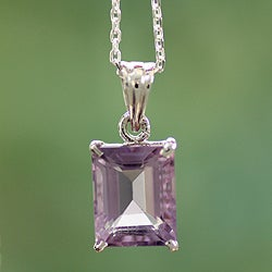Handcrafted Sterling Silver 'India Royal' Amethyst Necklace (India)