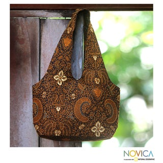 Cotton 'Bromo Dawn' Beaded Batik Medium Shoulder Bag (Indonesia)