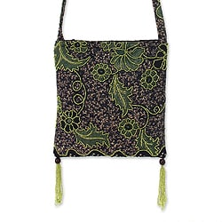 Cotton 'Midnight Java' Beaded Batik Medium Shoulder Bag (Indonesia)