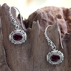 Sterling Silver 'Soul of Jasmine' Garnet Earrings (Indonesia)