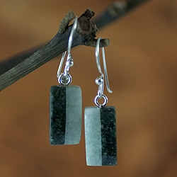 Handcrafted Sterling Silver 'Life' Jade Earrings (Guatemala)
