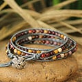 Handcrafted Leather 'Forest Flower' Jasper Bracelet (Thailand)