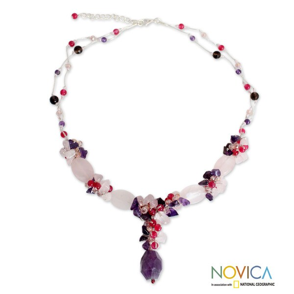 Sterling Silver 'Sweet Love' Multi-gemstone Necklace (Thailand)