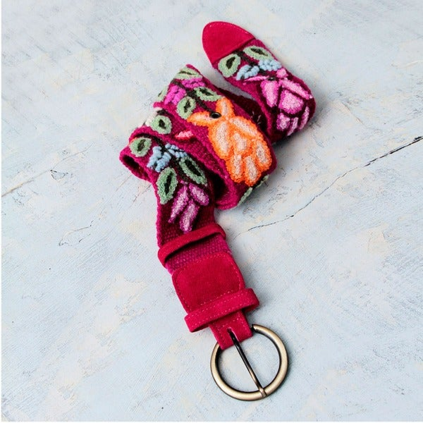 Handcrafted Wool 'Huantla Bouquet' Belt (Peru)