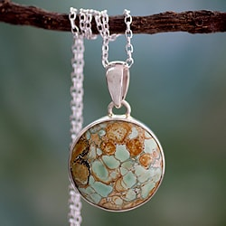 Sterling Silver 'World of Beauty' Variscite Necklace (India)