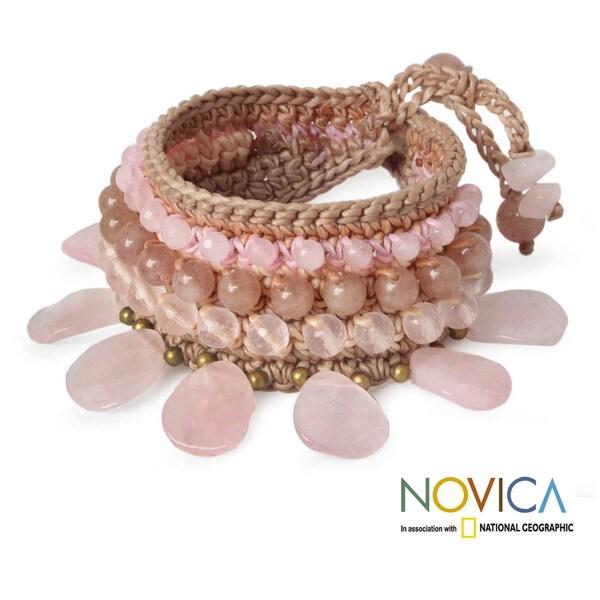 Rose Quartz and Aventurine 'Dawn Rose' Bracelet (Thailand)