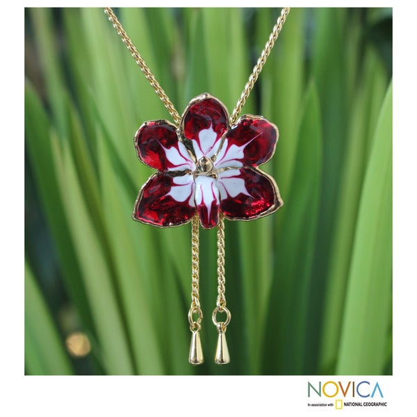 Gold Overlay 'Scarlet Dancer' Natural Orchid Necklace (Thailand)
