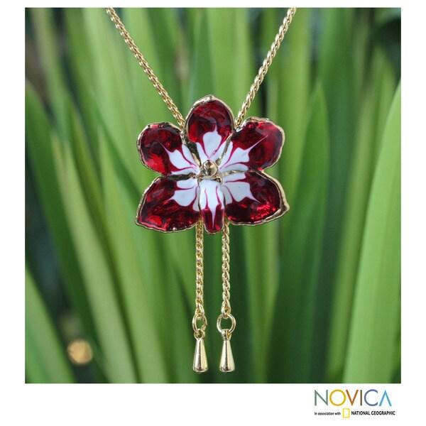 Gold Overlay 'Scarlet Dancer' Natural Orchid Necklace (Thailand)