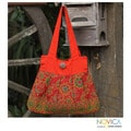 Handcrafted Cotton 'Apricot Afternoon' Large Shoulder Bag (Thailand)